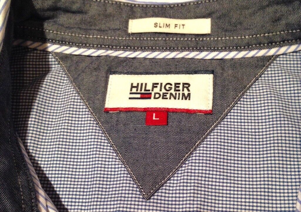 Mens Tommy Hilfiger shirt - Size L - Slim fit - Blue & White pinstripe - Worn once - Cost £85 new