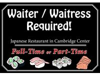** Waiter**Waitress** required. Part-Time & Full-Time, Japanese restaurant in Cambridge city centre