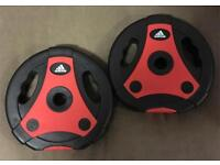 2 x New Adidas Body Pump 5kg Weight Discs With Handles