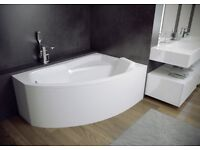 OFFSET CORNER BATH RIMA 130 X 85CM SPACE SAVER BATH PANEL AND LEGS INCLUDED *RIGHT HAND*
