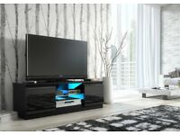NEW BOXED TV Cabinet BLACK GLOSS Door Unit Entertainment Stand Cupboard Glass Shelf 120cm