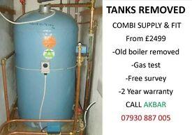 GRAVITY FED SYSTEM REMOVED,TANKS REMOVED,COMBI INSTALLATION,back boiler & floor standing boiler rmvd