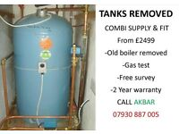 GRAVITY FED SYSTEM REMOVED,TANKS REMOVED,COMBI INSTALLATION,back boiler & floor standing boiler rmvd