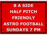 Players needed for Sunday evening friendly- half pitch 8 a side 90 min football game.