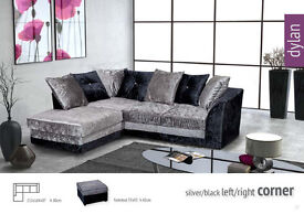 Dylan Velvet Corner Sofa in Silver Black or 3+2 Free Delivery & Free Home Assembly Included