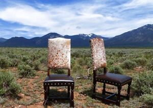 Colton Cowhide Chair + Distressed Wood Frame + Brass Nails $390. 6 Seat Minimum.