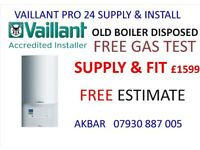 VAILLANT COMBI BOILER SUPPLY AND INSTALL £1599, megaflo, UFH, full house plumbing, WORCESTER GASSAFE