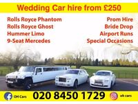 Wedding Car Hire, Range Rover Sports, Rolls Royce, Rolls Royce Ghost, Limo, Lamborghini and more