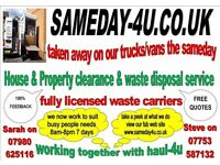 sameday4u house clearance and waste removal service, cardiff, bridgend, swansea, all areas covered,