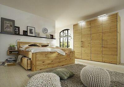 Schlafzimmer-set Kopfteil (Massivholz Schlafzimmer 4tlg Set Kiefer gelaugt geölt Bett mit Holz-Kopfteil 200)