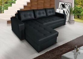 **7-DAY MONEY BACK GUARANTEE!** Barcel Leather Corner Sofa and Sofabed with Storage- SAME DAY!