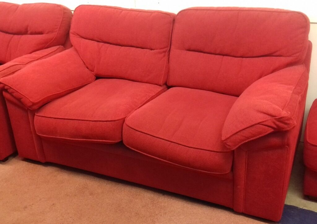 Lovely Red 2 Seater Sofa with Armchair and Footstool - Great Condition £60
