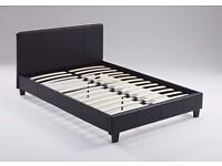 Modern 4ft6 Double bed frame in black faux leather, brand new in box, Free delivery