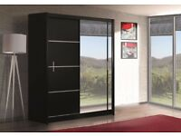Nice BLACK 203 Sturdy Free Standing Wooden Sliding Door Wardrobe SLIDER