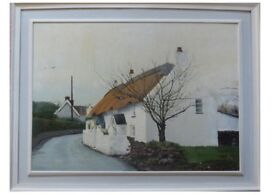 The Nook Cottage, Oxwich on the Gower. Rev John Wesley once lodged there 75 x 60 cm oil on board