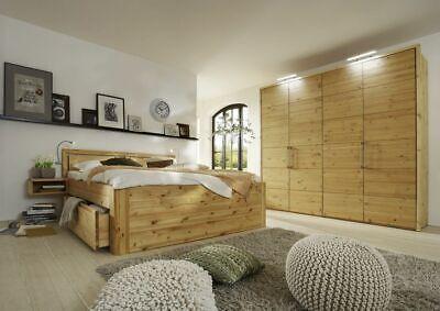 Schlafzimmer-set Kopfteil (Schlafzimmer Massivholz 4tlg. Set Kiefer gelaugt geölt Bett mit Holz-Kopfteil 20)