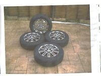 4 Toyota 14 inch Chrome finish alloy wheels and tyres for New Prius