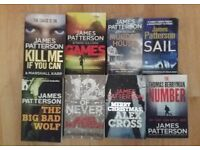 8 x James Patterson best seller thriller fiction paperback books - job lot - good condition