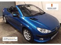 Peugeot 206cc Allure 2.0 Convertible Leather Air con Alloys Great Summer Fun 3 Month warranty