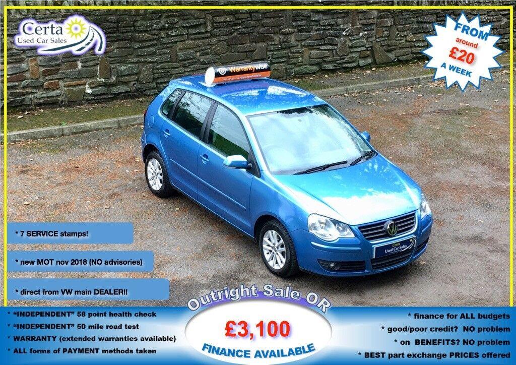 £20 wk LOW mileage!! vw POLO 80 S 1.4 petrol 2007 (57) manual NEW mot ALLOYS