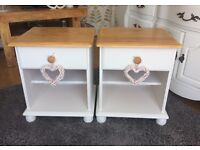 PAIR SHABBY CHIC BEDSIDE TABLES