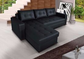 **30-DAY MONEY BACK GUARANTEE!** Onix Bonded Leather Corner Sofa and Sofabed with Storage- SAME DAY!