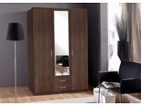 🏮🏮WOW UPTO 50% OFF🏮🏮 osaka 3 Door Wardrobe with Long Mirrors - SAME/NEXT DAY DELIVERY!