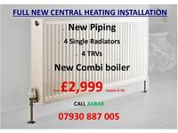 boiler installation+NEW HEATING PIPES+4 NEW RADIATORS+gas certificate from £2999,BACK BOILER REMOVED