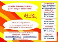 Spanish 15 Week Courses 2018