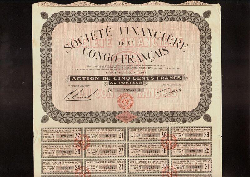 AFRICA   Soc. Financiere du Congo Francais 1929  Paris France