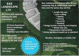 E&B LANDSCAPE LTD. RELIABLE GARDENING SERVICE WITH REASONABLE PRICES
