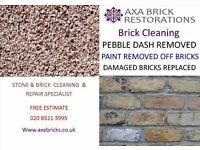 BRICK CLEANING,weather struck POINTING,pebble dash removed,damaged bricks replaced,brick paint remvd