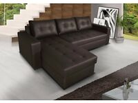 **7-DAY MONEY BACK GUARANTEE!** Luxury Barcel Leather Corner Sofabed with Storage-SAME DAY!