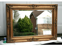 Very Large Gold Guilded Bevelled Mirror