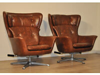 Pair Of Retro 1960's High Quality Swivel Armchairs Chairs, Recently Upholstered
