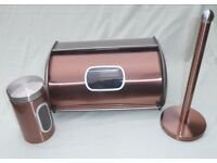 """Copper Effect Bread Bin & Canister with window & Kitchen Towel Holder """"My Kitchen"""" from The Range"""