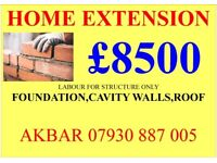 HOME EXTENSION £8500 LABOUR ONLY (SHELL) BASEMENT,LOFT CONVERSION,BUILDERS,PLUMBING,GAS