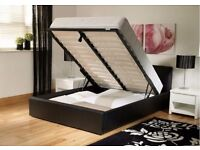 DOUBLE LEATHER STORAGE BED WITH SEMI ORTHOPAEDIC MATTRESS BLACK BROWN COLOUR