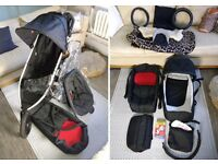 PHIL & TEDS 'VIBE' DUAL STROLLER - with accessories.