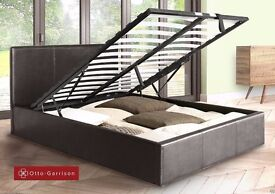 == SUPERIOR QUALITY == GAS LIFT UP SYSTEM BED! FAUX LEATHER BED FRAME WITH MATTRESS SINGLE/DOUBLE