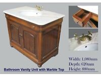 Mahogany Bathroom Vanity Unit with Marble Top