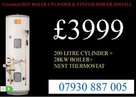 MEGAFLO Unvented hot water cylinder & system boiler INSTALLATION, back boiler removed, VAILLANT