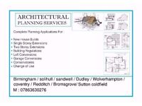 Architectural drawings, Planning Applications, Building Regulations. Contact 07863630276