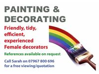 Friendly, tidy and experienced female decorating team with over 8 years experience