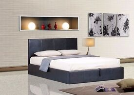 """""""""""100% BEST OFFER"""""""" NEW DOUBLE LEATHER BED WITH WHITE ORTHOPEDIC MATTRESS ONLY 139"""