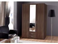 ====CHEAPEST PRICE==== BRAND NEW HIGH QUALITY 3 DOOR OSAKA WARDROBE IN WHITE AND WALNUT WITH MIRROR
