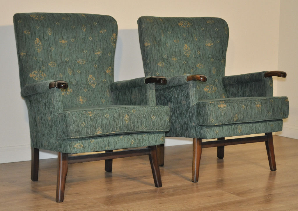 Attractive Vintage Pair of Green Upholstered Fireside Easy Armchairs Arm Chairs