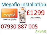 UNVENTED HOT WATER cylinder Megaflo installation, BOILER INSTALLATION, back boiler removed VAILLANT