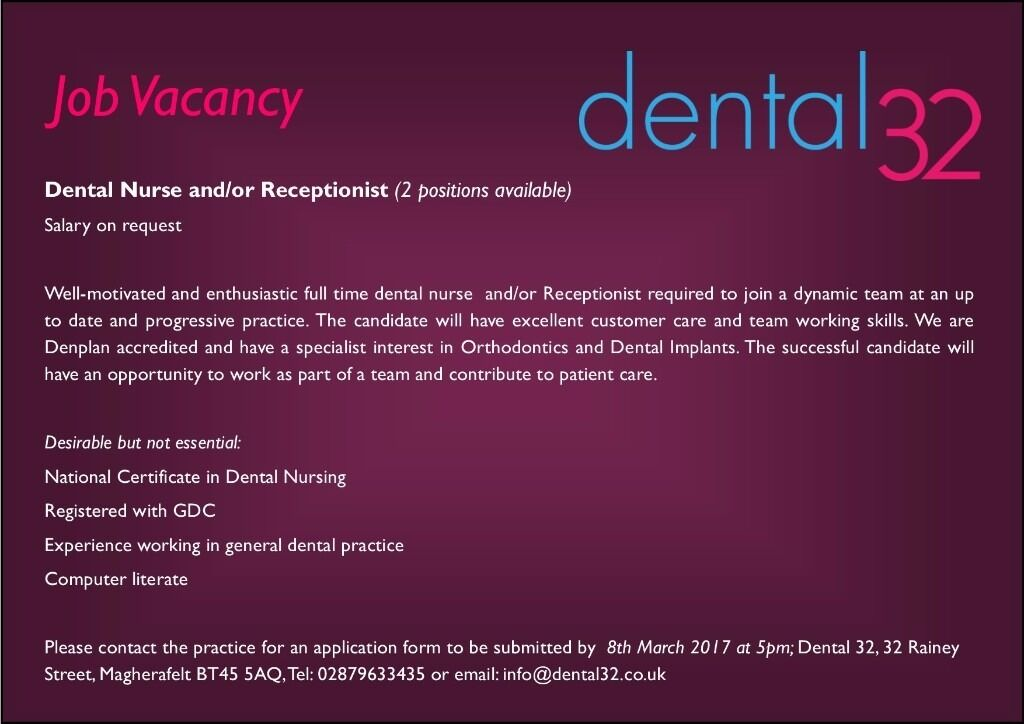 Full Time Dental Nurse and/ or Receptionist - 2 positons   in ...