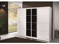 LONDON Sliding Door Wardrobe White Delivery 1-3 days Brand New We Can Delivered 204cm